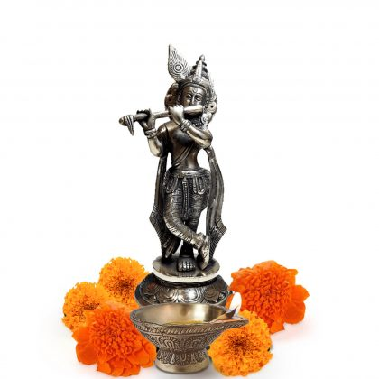 9 Inch Lord Krishna Brass Idol for Home temple