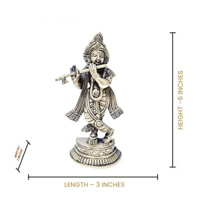 6 Inch Lord Krishna Brass statue for Home temple