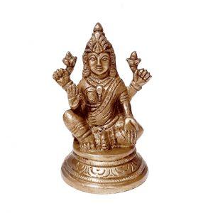 Goddess Laxmi Statue(Goddess of Wealth Prosperity ) Brass Gold Statue Idol 4 inches