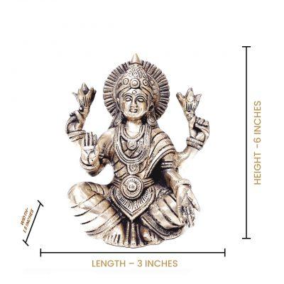 Hindu Goddess Laxmi Brass Idol Statue 6 inches