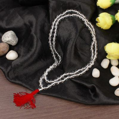 Sphatik Mala (108+1 Beads) 100% Natural & Crystal Chanting Mala, for Wearing in Neck and Jaap Mala
