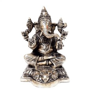 Hindu Lord Ganesha Brass God of Success 5.7 Inch Statue for Home
