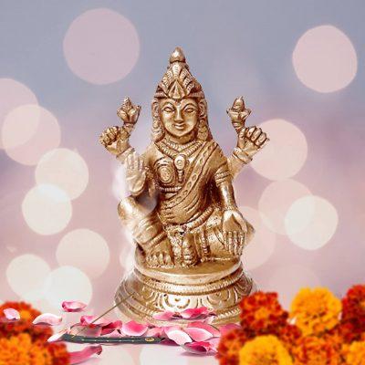 Lakshmi Statue Hindu Goddess of Wealth, Prosperity, Wisdom and Fortune Sculpture 4 Inch Brass Figurine