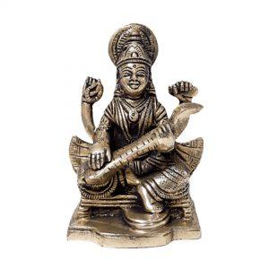 3.6 Inch Saraswati Statue Hindu Goddess of Knowledge, Music, Arts, and Wisdom Sculpture Figurine