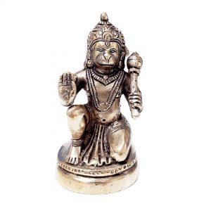 Hindu God Hanuman Bajrangbali 4.5 Inch Brass Statue for Pooja Temple