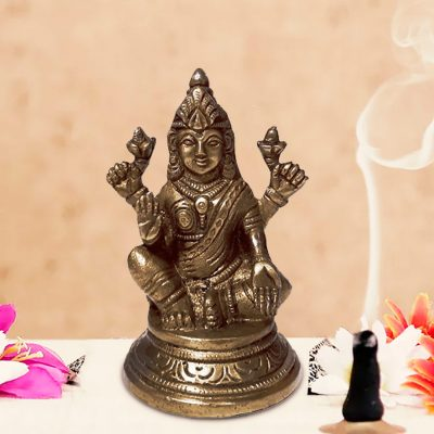 Lakshmi Statue Hindu Goddess of Wealth, Prosperity 4 Inch Brass Figurine