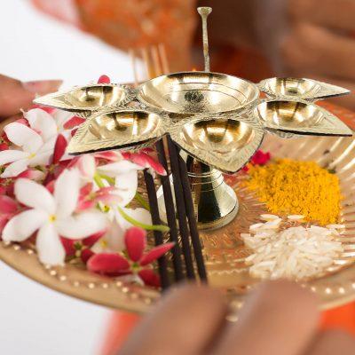 Handmade Brass Panchdeep Aaarti Diya for Home Pooja / Temple Pooja