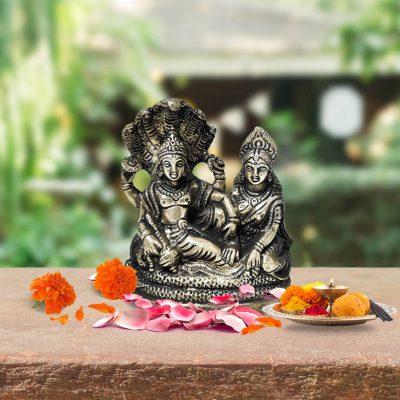 Lord Vishnu and Goddess Lakshmi Seated on Sheshnag Brass Idol 3.7 inch for Home Temple