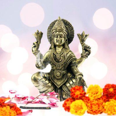 Lakshmi Statue Goddess of Wealth and Prosperity 6 Inch Brass Figurine