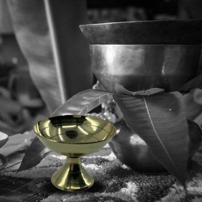 Handmade Indian Pooja Golden Oil lamp for Home Pooja