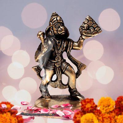 Hindu Lord Hanuman Flying Bajrangbali 3 Inch Brass Statue for Pooja Temple