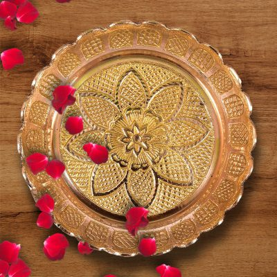 Antique Handmade 3.74 Inch Brass Pooja Thali Set for Home Pooja and Festival (Pack of 5)