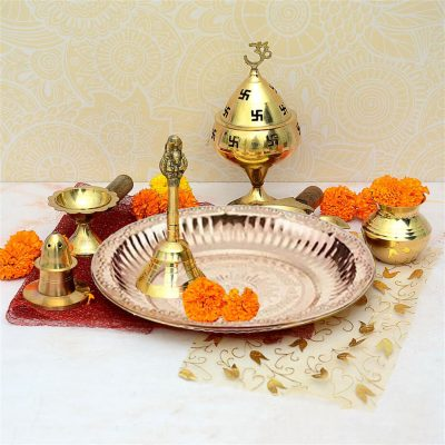 7.5 Inch Om Designed Aarti Pooja Thali for home