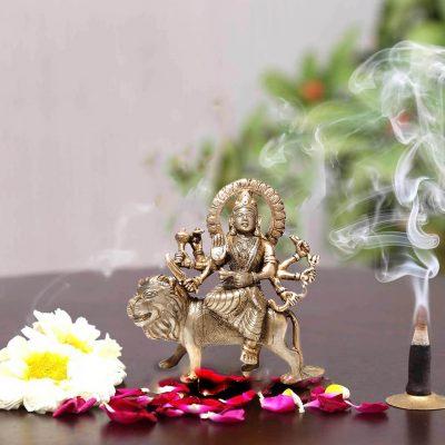 Antique Durga Brass Statue 6 inch Pooja Figurine for Home Temple Durga Sculpture for Navratri Pooja