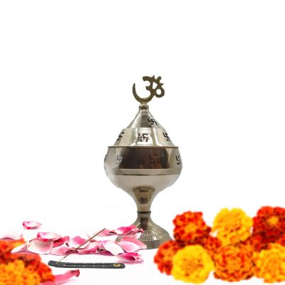 OM Swastik Hindu Brass Akhand Jyoti Diya for Pooja Indian Akhand Diya for Home Pooja
