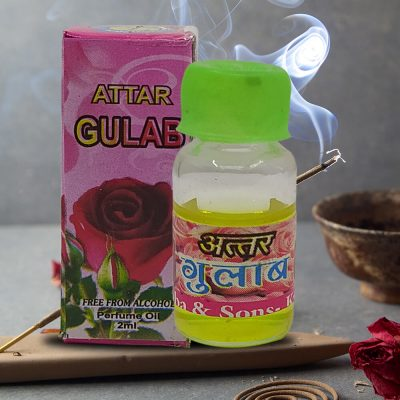 100% Genuine Rose Flowers Attar For Pooja 2 ml (Pack of 2)