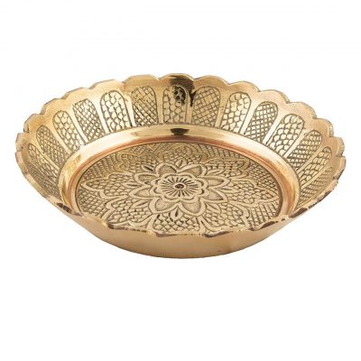 Brass Handmade Puja Small Plate (Pack of 3)