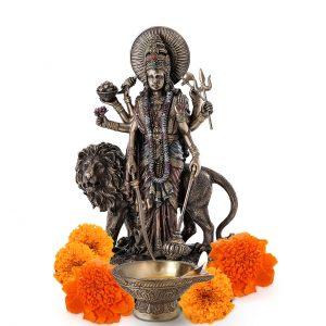 Antique Durga Kali Brass Statue 11 inch Pooja Figurine for Home Temple Kali Sculpture for Pooja