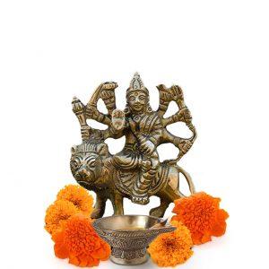 Antique Durga Brass Statue 3 inch Pooja Figurine for Home Temple Durga Sculpture for Navratri Pooja