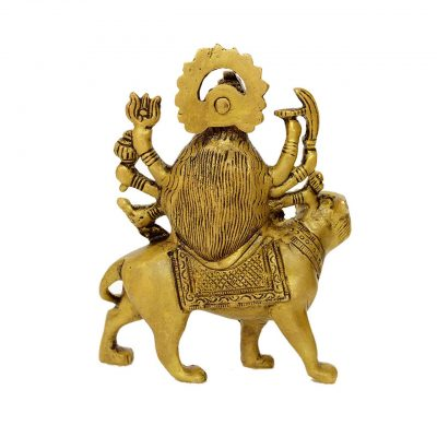 Durga Brass Statue 4.3 inch Pooja Figurine for Home Temple Durga Sculpture for Navratri Pooja