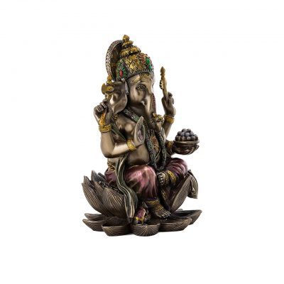 Ganesh Sitting on Lotus Bronze Statue