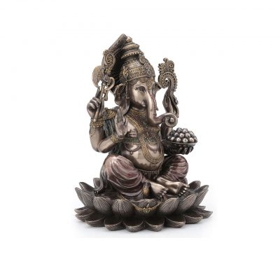 10 Inch Lord Ganesh Sitting Brass Statue for Pooja