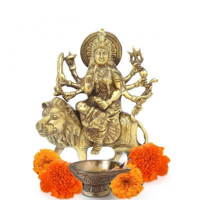 Antique Durga Brass Statue 8 inch Pooja Figurine for Home Temple Durga Sculpture for Navratri Pooja