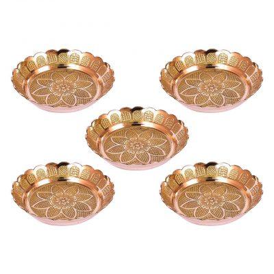 Handmade Brass Puja Plate Pack of 5