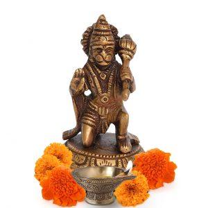 Lord Hanuman Bajrangbali 4 Inch Brass Statue for Pooja Temple