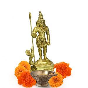 Brass Standing Murugan Lord Kartikeya Statue