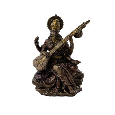 Saraswati Cold Cast Bronze Statue 3-Inch