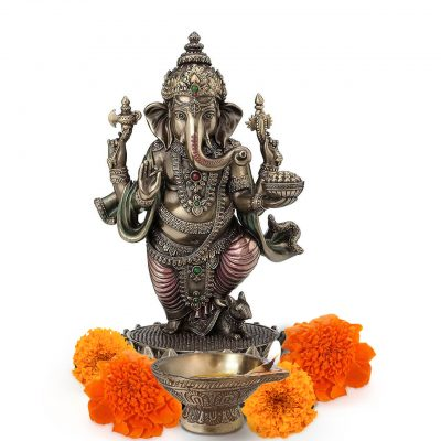 6 Inch Lord Ganesh Standing Brass Statue for Pooja