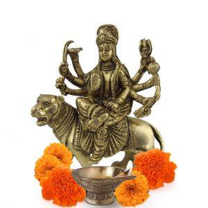 Durga Kali Brass Statue 5 inch Pooja Figurine for Home Temple Durga Sculpture for Pooja