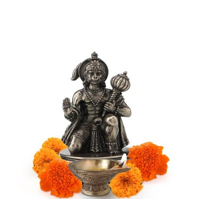 Hindu God Hanuman Bajrangbali 3.25 Inch Brass Statue for Pooja Temple