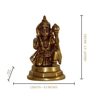 Hindu Lord Hanuman Bajrangbali 4.5 Inch Brass Statue for Pooja Temple