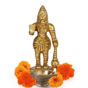 Hindu God Hanuman Bajrangbali 3 Inch Brass Gold Statue for Pooja Temple