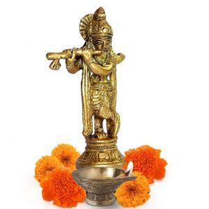 Brass Makhan Chor Laddoo Gopal Baby Krishna