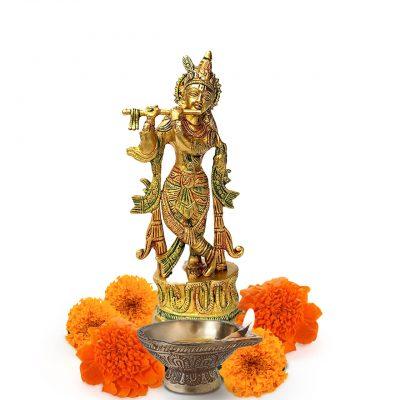 Lord Krishna Brass statue murti