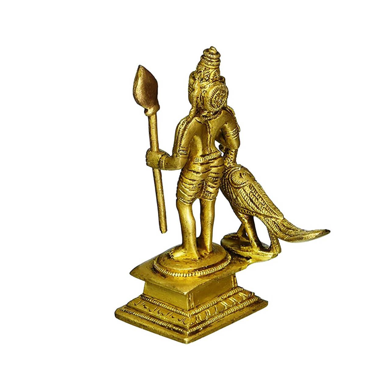 Brass Statue Lord Murugan Karthikeya