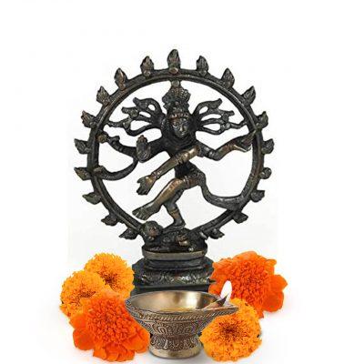 Antiqued Bronze Shiva Dancing Statue 6 Inches