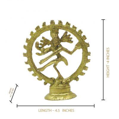 GOD Natraj Brass Idol (3 Inch) Statue