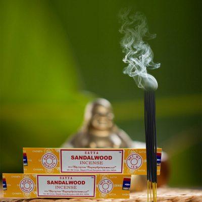 Satya Sandalwood Incense Sticks for Prayer, Meditation, Pooja, Worship, Relexing, Stress Relief