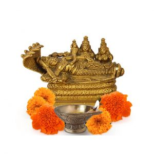 Anantashayi AnandShayan Sleeping Vishnu-Lakshmi Brass Statue